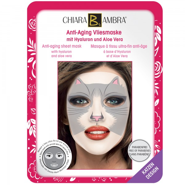 CHIARA AMBRA® Masques à tissu ultra-fin pour le visage, design Animal - Design-Chat